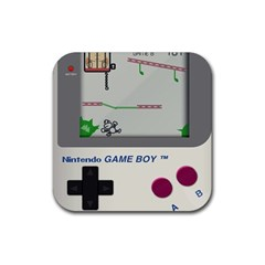 Game Boy White Rubber Coaster (square)  by Samandel