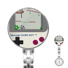 Game Boy White Stainless Steel Nurses Watch