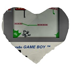 Game Boy White Large 19  Premium Flano Heart Shape Cushions by Samandel