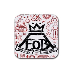 Save Rock And Roll Fob Fall Out Boy Rubber Coaster (square)  by Samandel