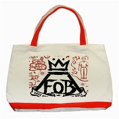 Save Rock And Roll Fob Fall Out Boy Classic Tote Bag (red)
