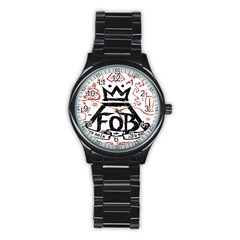 Save Rock And Roll Fob Fall Out Boy Stainless Steel Round Watch by Samandel