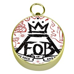Save Rock And Roll Fob Fall Out Boy Gold Compasses by Samandel