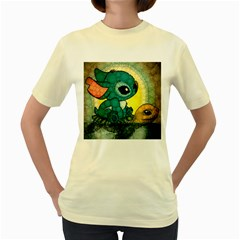 Stich And Turtle Women s Yellow T Shirt