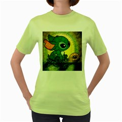 Stich And Turtle Women s Green T Shirt