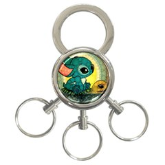 Stich And Turtle 3 Ring Key Chains