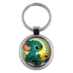 Stich And Turtle Key Chains (round)