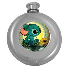 Stich And Turtle Round Hip Flask (5 Oz) by Samandel