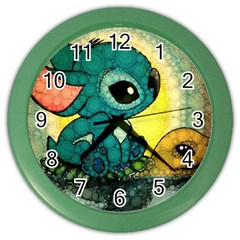 Stich And Turtle Color Wall Clocks