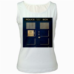 Tardis Poster Women s White Tank Top by Samandel