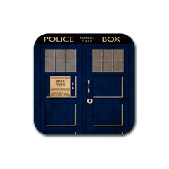 Tardis Poster Rubber Square Coaster (4 Pack)