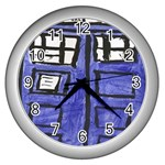 Tardis Painting Wall Clocks (Silver)  Front