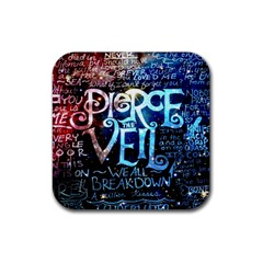 Pierce The Veil Quote Galaxy Nebula Rubber Square Coaster (4 Pack)  by Samandel
