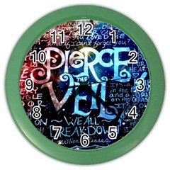 Pierce The Veil Quote Galaxy Nebula Color Wall Clocks by Samandel