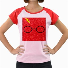 Glasses And Lightning Glitter Women s Cap Sleeve T Shirt