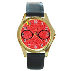 Glasses And Lightning Glitter Round Gold Metal Watch