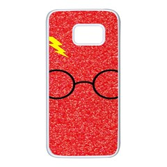 Glasses And Lightning Glitter Samsung Galaxy S7 White Seamless Case