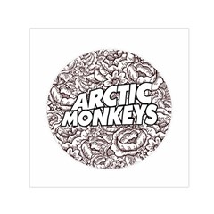 Artic Monkeys Flower Circle Small Satin Scarf (square) by Samandel