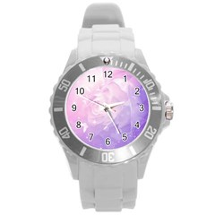 Beautiful Rose, Soft Violet Colors Round Plastic Sport Watch (l) by FantasyWorld7