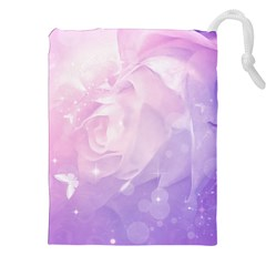 Beautiful Rose, Soft Violet Colors Drawstring Pouches (xxl) by FantasyWorld7