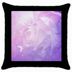 Beautiful Rose, Soft Violet Colors Throw Pillow Case (black) by FantasyWorld7