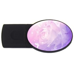 Beautiful Rose, Soft Violet Colors Usb Flash Drive Oval (4 Gb) by FantasyWorld7