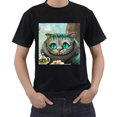 Cheshire Cat Men s T Shirt (black) (two Sided)