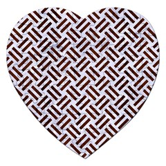 Woven2 White Marble & Reddish Brown Wood (r) Jigsaw Puzzle (heart) by trendistuff