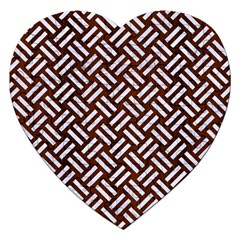 Woven2 White Marble & Reddish Brown Wood Jigsaw Puzzle (heart) by trendistuff