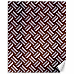 Woven2 White Marble & Reddish Brown Wood Canvas 16  X 20   by trendistuff