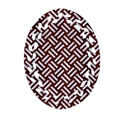 Woven2 White Marble & Reddish Brown Wood Ornament (oval Filigree) by trendistuff