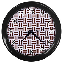 Woven1 White Marble & Reddish Brown Wood (r) Wall Clocks (black) by trendistuff