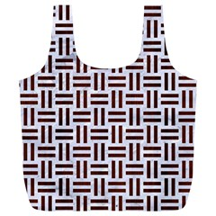 Woven1 White Marble & Reddish Brown Wood (r) Full Print Recycle Bags (l)  by trendistuff