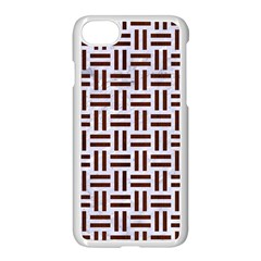 Woven1 White Marble & Reddish Brown Wood (r) Apple Iphone 7 Seamless Case (white) by trendistuff