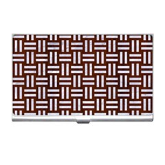 Woven1 White Marble & Reddish Brown Wood Business Card Holders by trendistuff