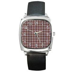 Woven1 White Marble & Reddish Brown Wood Square Metal Watch by trendistuff