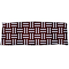 Woven1 White Marble & Reddish Brown Wood Body Pillow Case (dakimakura) by trendistuff