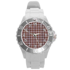 Woven1 White Marble & Reddish Brown Wood Round Plastic Sport Watch (l) by trendistuff