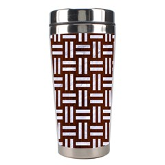 Woven1 White Marble & Reddish Brown Wood Stainless Steel Travel Tumblers by trendistuff