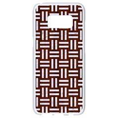 Woven1 White Marble & Reddish Brown Wood Samsung Galaxy S8 White Seamless Case by trendistuff