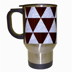Triangle3 White Marble & Reddish Brown Wood Travel Mugs (white) by trendistuff