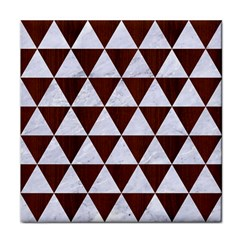 Triangle3 White Marble & Reddish Brown Wood Face Towel by trendistuff
