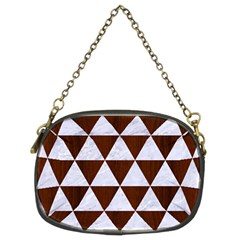 Triangle3 White Marble & Reddish Brown Wood Chain Purses (two Sides)  by trendistuff