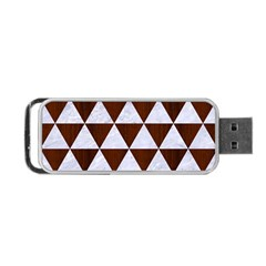 Triangle3 White Marble & Reddish Brown Wood Portable Usb Flash (two Sides) by trendistuff