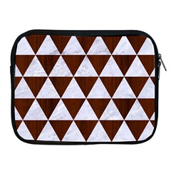 Triangle3 White Marble & Reddish Brown Wood Apple Ipad 2/3/4 Zipper Cases by trendistuff