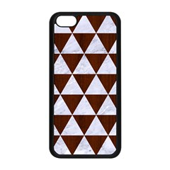 Triangle3 White Marble & Reddish Brown Wood Apple Iphone 5c Seamless Case (black)