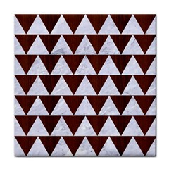 Triangle2 White Marble & Reddish Brown Wood Tile Coasters by trendistuff