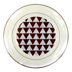 Triangle2 White Marble & Reddish Brown Wood Porcelain Plates by trendistuff