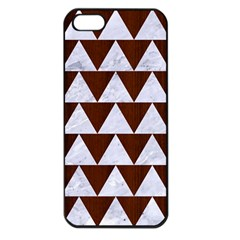 Triangle2 White Marble & Reddish Brown Wood Apple Iphone 5 Seamless Case (black) by trendistuff