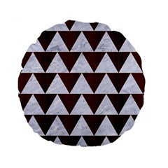 Triangle2 White Marble & Reddish Brown Wood Standard 15  Premium Round Cushions by trendistuff